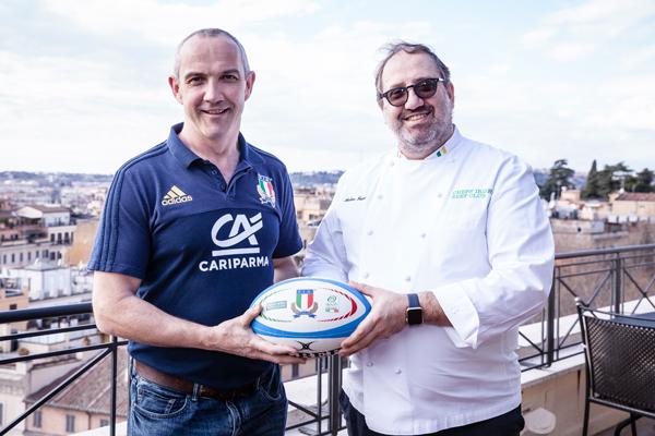 Da sinistra: il Commissario Tecnico della Nazionale Italiana di rugby Conor O'Shea insieme allo Chef Andrea Fusco