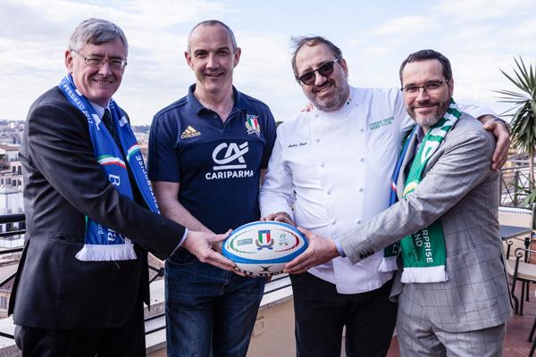 Da sinistra, l'Ambasciatore Irlandese in Italia Bobby Mc Donagh, Conor O'Shea, Andrea Fusco e Nicolas Ranninger, Direttore Bord Bia Italia